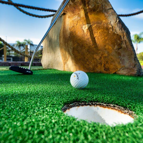 Close up of Golf ball near hole